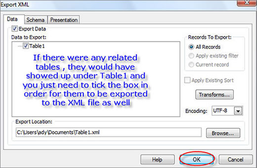 Choose the related tables, if any, to be added to the XML file
