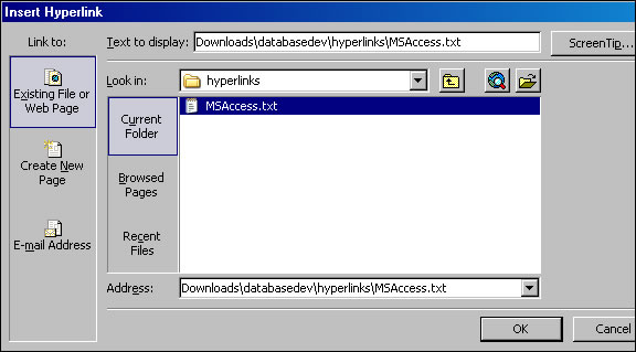 The insert hyperlink dialog box