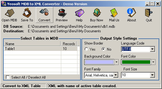 mdb to xml file conversion