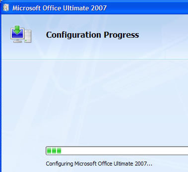 Office 2007 configuration screen